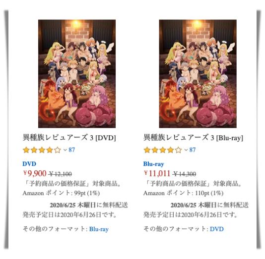 異種族レビュアーズ、アニメ、円盤、BD、DVD