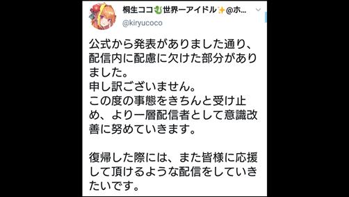 桐生ココ、ホロライブ、謹慎処分