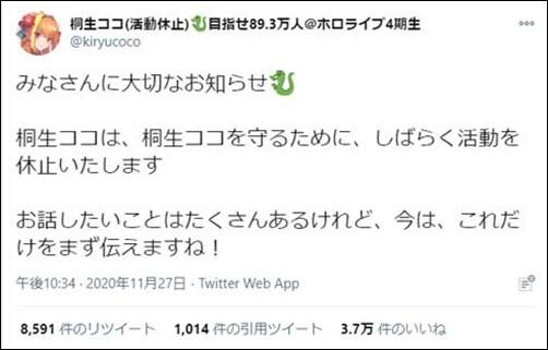桐生ココ、ホロライブ、休止